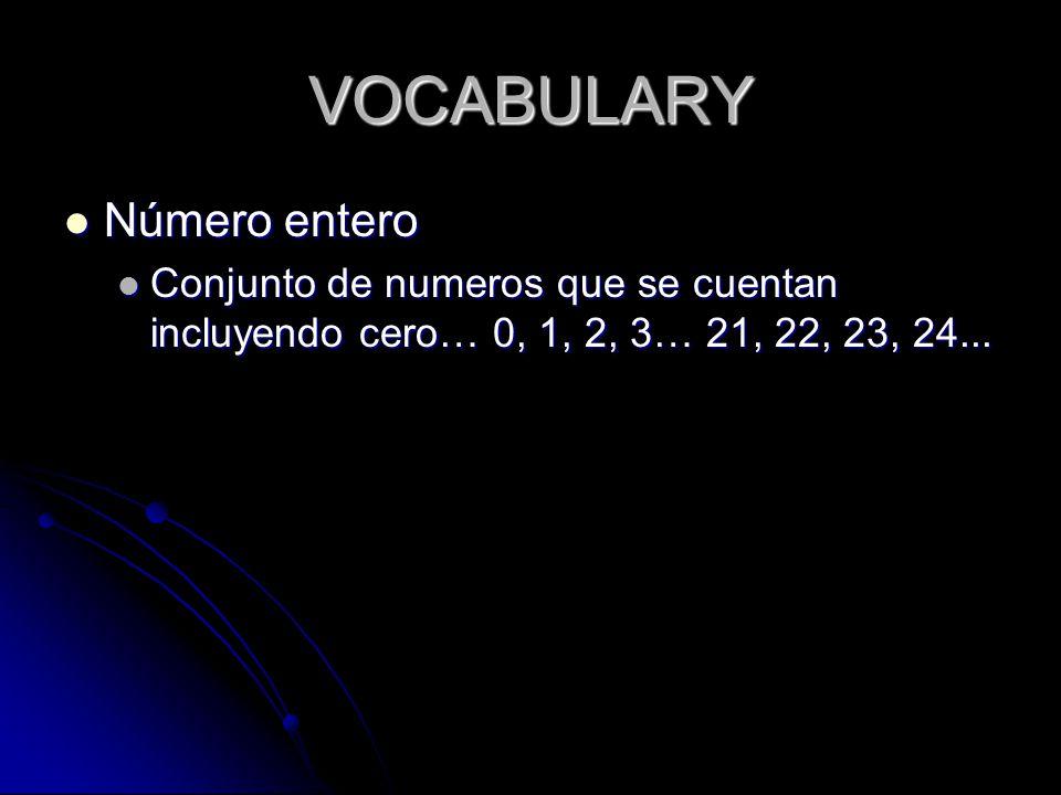 VOCABULARY Número entero Número entero Conjunto de numeros que se cuentan incluyendo cero… 0, 1, 2, 3… 21, 22, 23, 24...