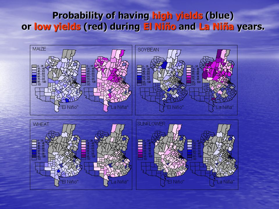Probability of having high yields (blue) or low yields (red) during El Niño and La Niña years.