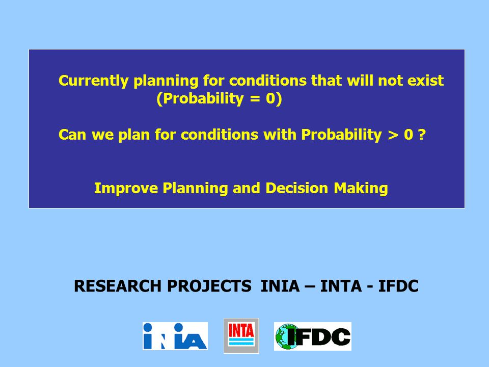 Currently planning for conditions that will not exist (Probability = 0) Can we plan for conditions with Probability > 0 .