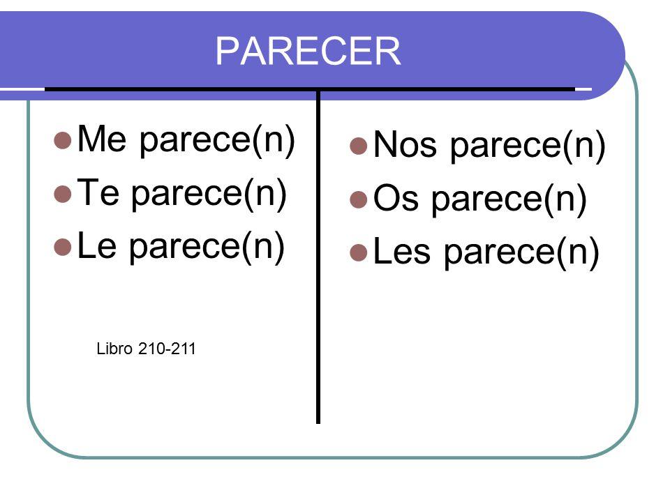 PARECER Me parece(n) Te parece(n) Le parece(n) Nos parece(n) Os parece(n) Les parece(n) Libro 210-211