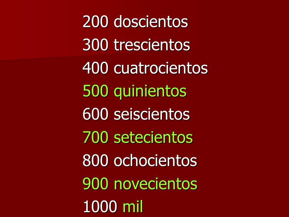 200 doscientos 300 trescientos 400 cuatrocientos 500 quinientos 600 seiscientos 700 setecientos 800 ochocientos 900 novecientos 1000 mil