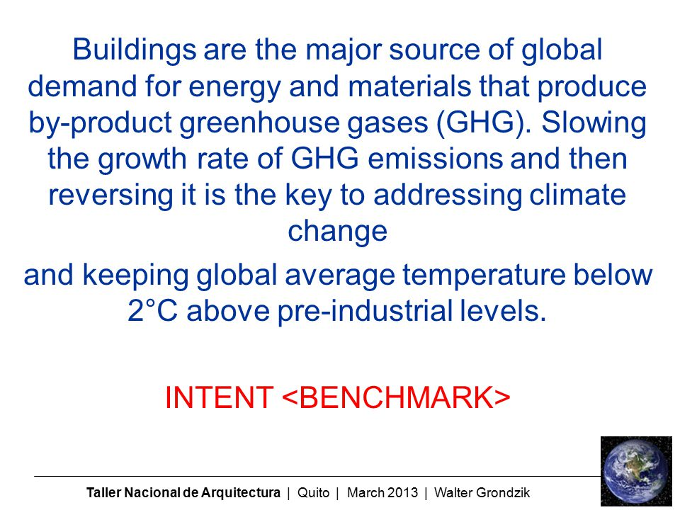 Buildings are the major source of global demand for energy and materials that produce by-product greenhouse gases (GHG).