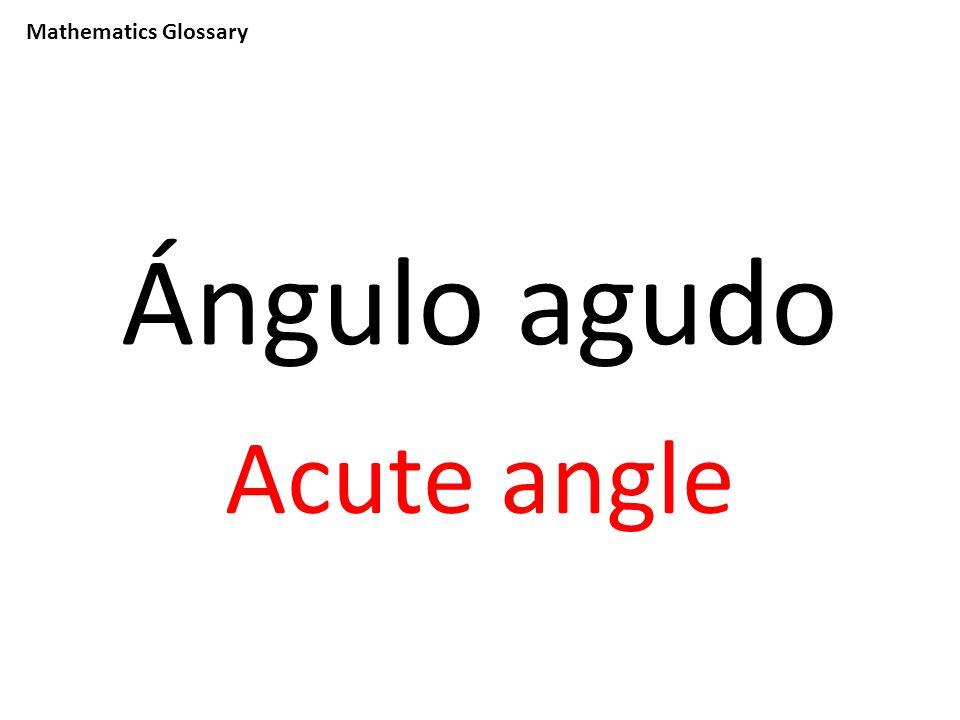 Mathematics Glossary Ángulo agudo Acute angle