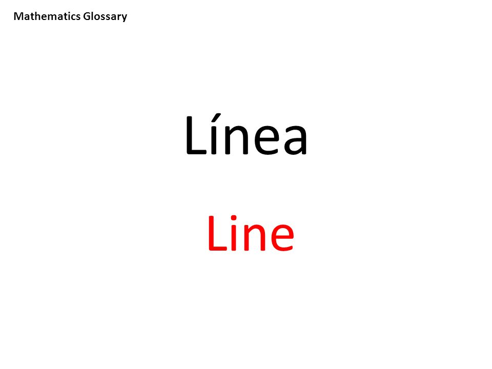 Mathematics Glossary Línea Line