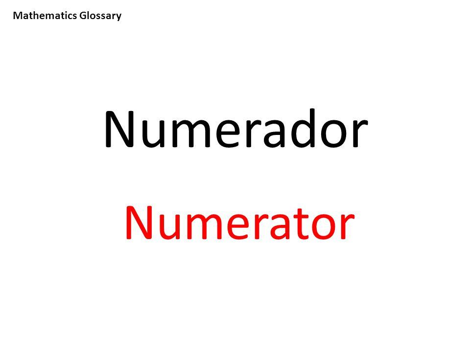 Mathematics Glossary Numerador Numerator