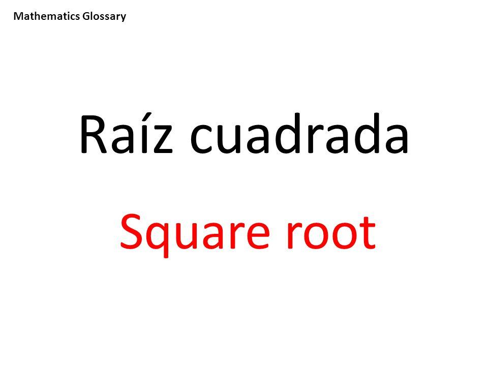 Mathematics Glossary Raíz cuadrada Square root
