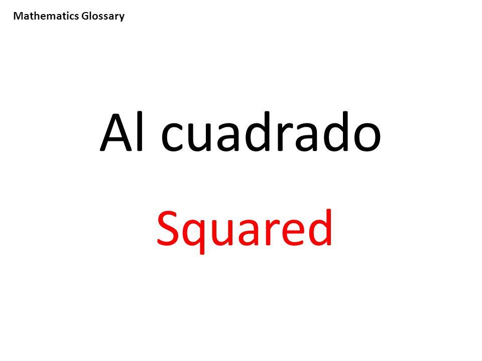 Mathematics Glossary Al cuadrado Squared