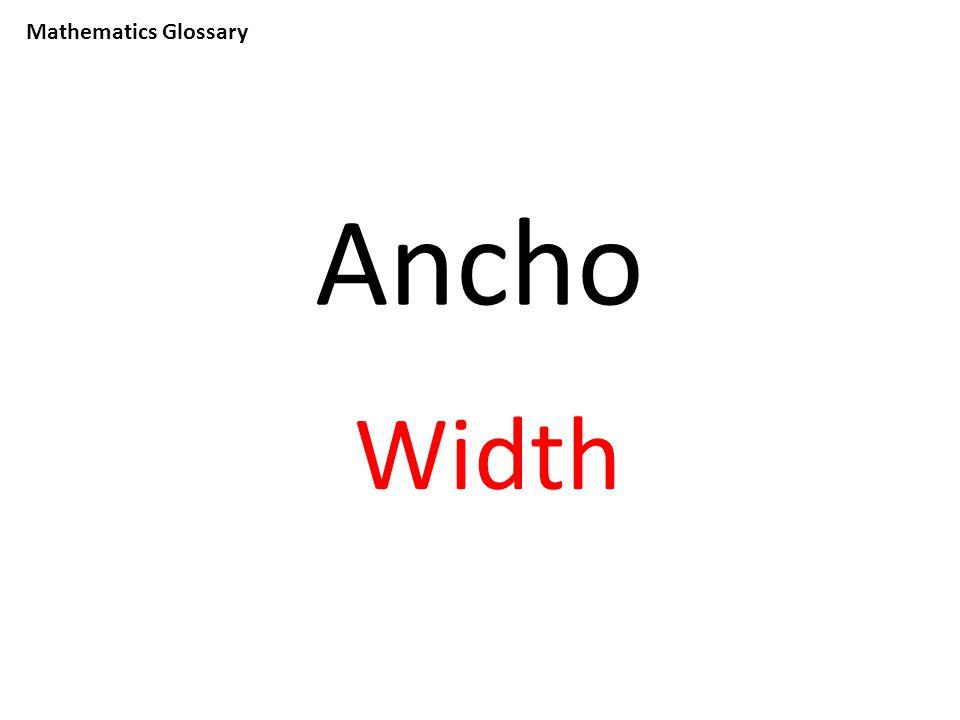 Mathematics Glossary Ancho Width