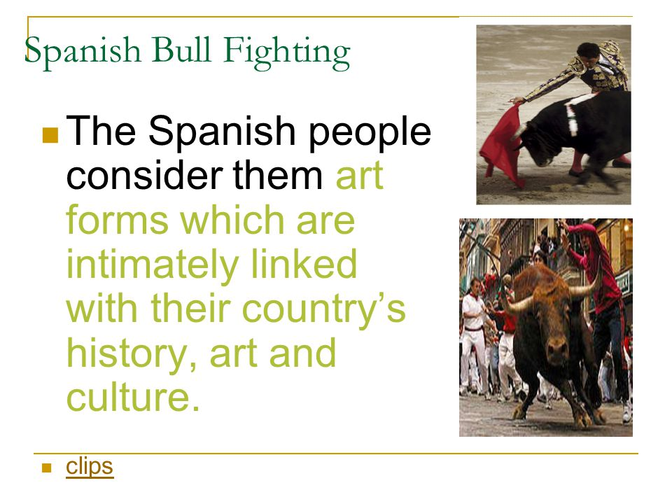Spanish Bull Fighting The Spanish people consider them art forms which are intimately linked with their country's history, art and culture.