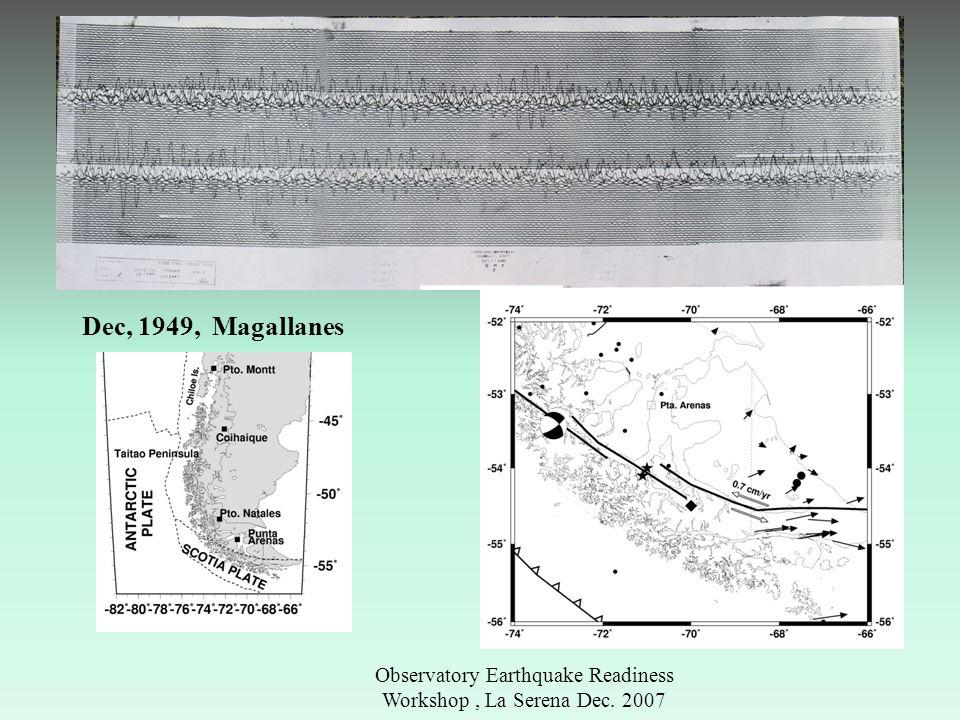 Observatory Earthquake Readiness Workshop, La Serena Dec. 2007 Dec, 1949, Magallanes