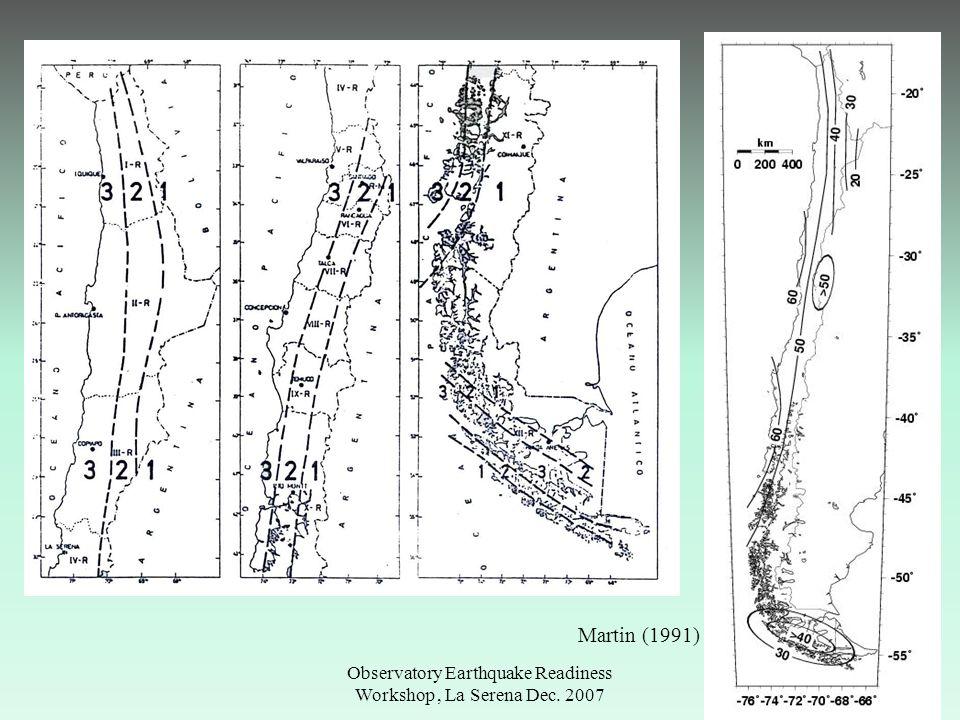 Observatory Earthquake Readiness Workshop, La Serena Dec. 2007 Martin (1991)