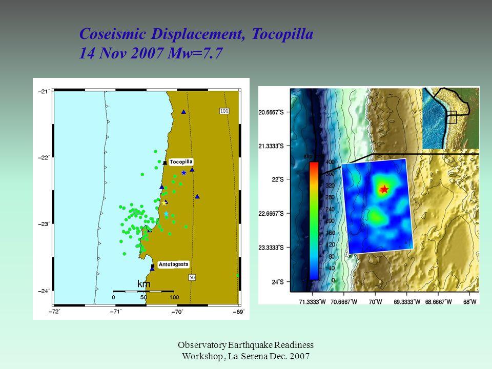 Observatory Earthquake Readiness Workshop, La Serena Dec. 2007 Coseismic Displacement, Tocopilla 14 Nov 2007 Mw=7.7
