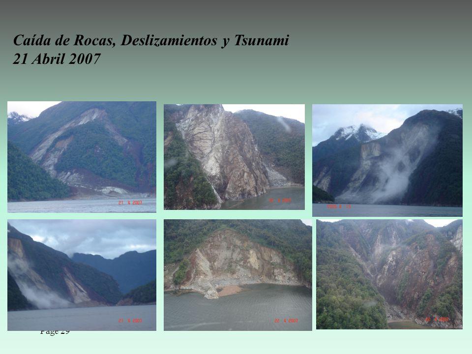 Page 29 Caída de Rocas, Deslizamientos y Tsunami 21 Abril 2007