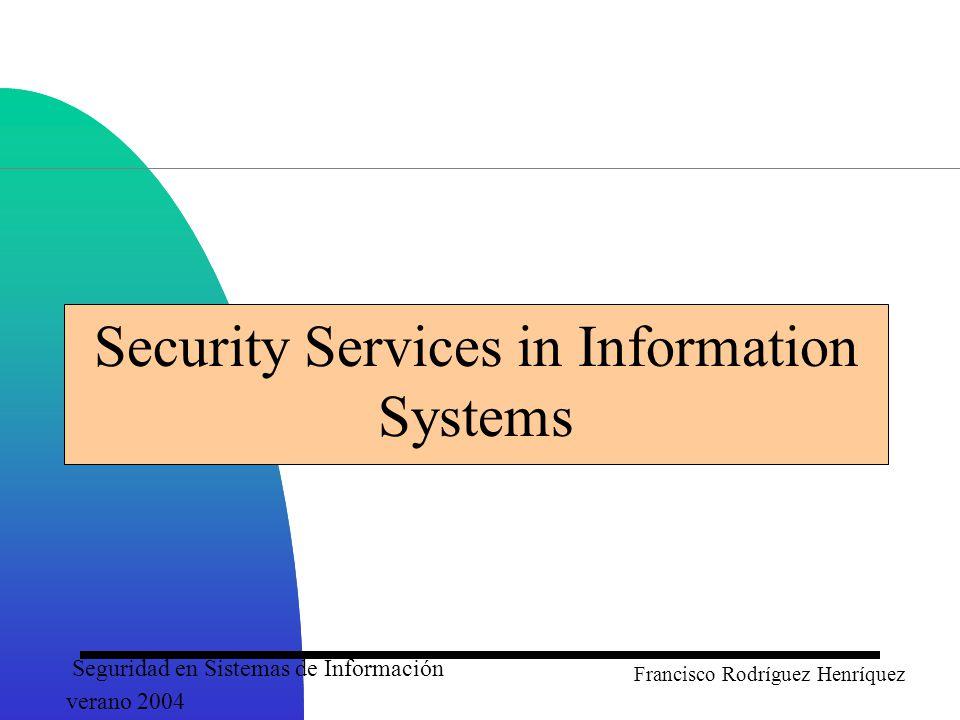 Seguridad en Sistemas de Información verano 2004 Francisco Rodríguez Henríquez Fundamental Dilemma of Security Security unaware users have specific security requirements but no security expertise.