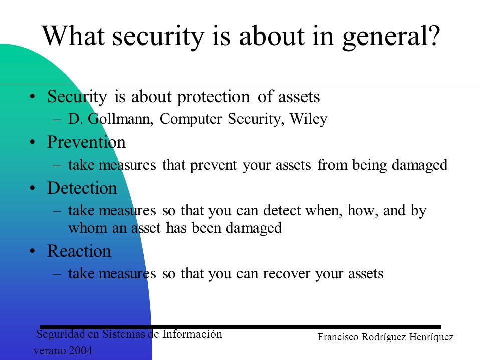 Seguridad en Sistemas de Información verano 2004 Francisco Rodríguez Henríquez A Cryptosystem Classification Public key cryptography (RSA, ECC, NTRU) Secret key Cryptography (DES, AES, RC4) Block ciphers (DES, IDEA, RSA) 64-128 bits Stream ciphers (A5, RC4, SEAL) encryption in a bit to bit basis.