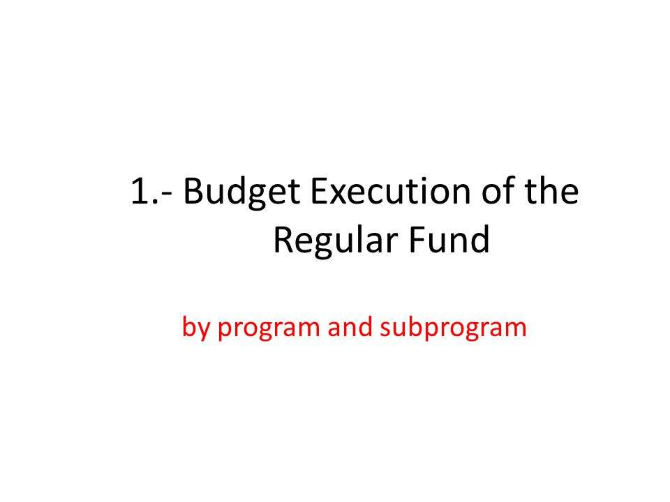 1.- Budget Execution of the Regular Fund by program and subprogram