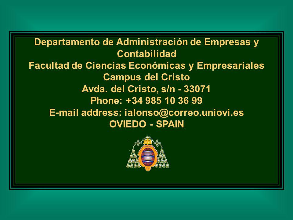 Departamento de Administración de Empresas y Contabilidad Facultad de Ciencias Económicas y Empresariales Campus del Cristo Avda.
