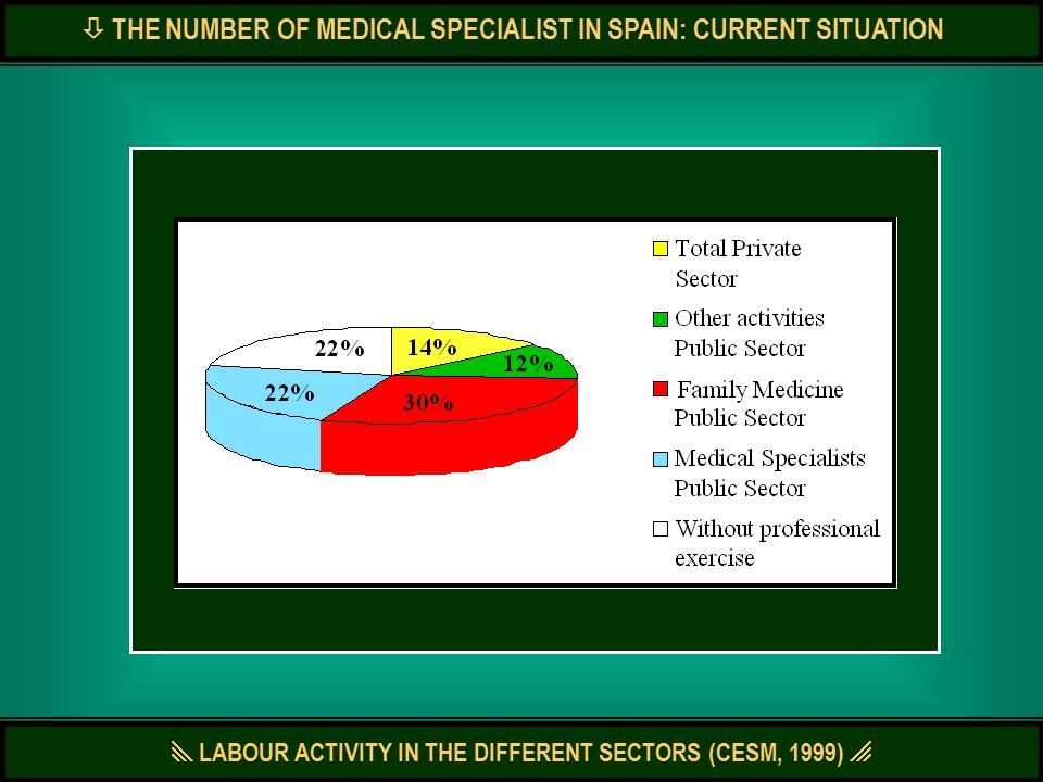  LABOUR ACTIVITY IN THE DIFFERENT SECTORS (CESM, 1999)   THE NUMBER OF MEDICAL SPECIALIST IN SPAIN: CURRENT SITUATION