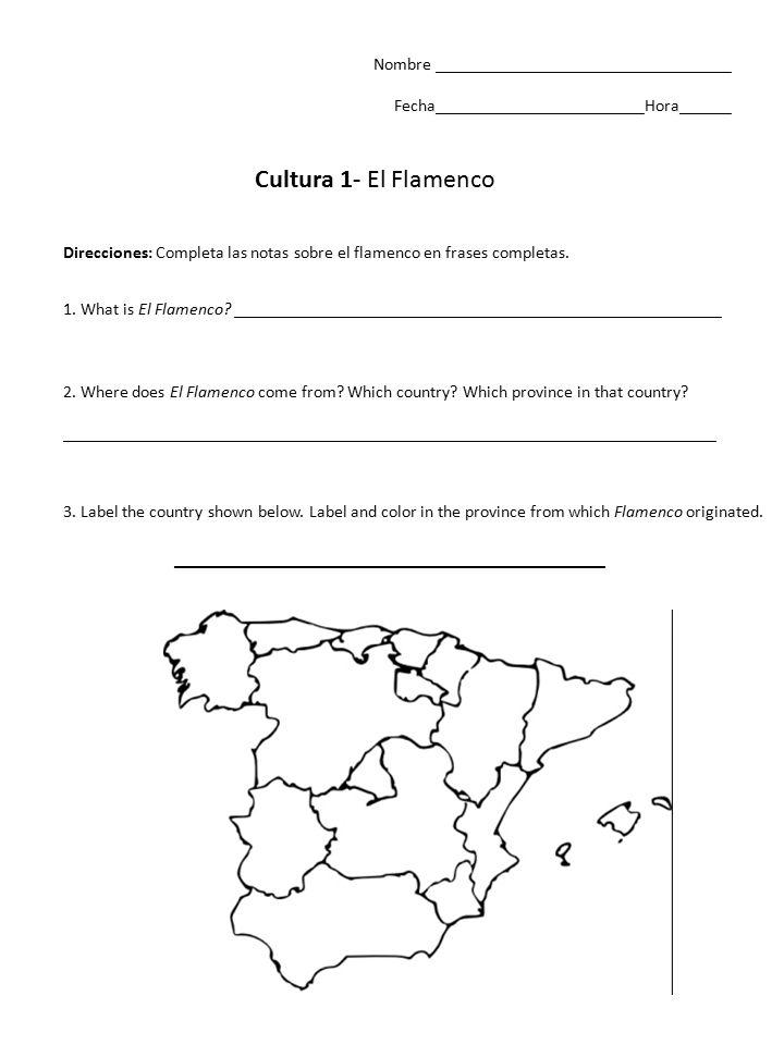 Nombre __________________________________ Fecha________________________Hora______ Cultura 1- El Flamenco 1.