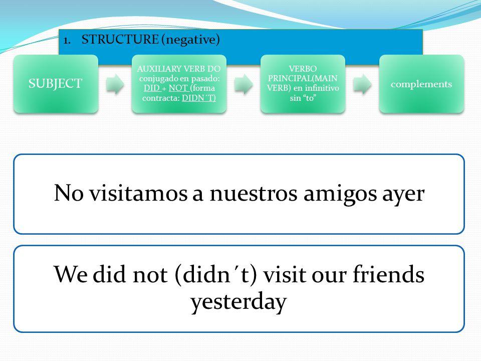 1.STRUCTURE (negative) SUBJECT AUXILIARY VERB DO conjugado en pasado: DID + NOT (forma contracta: DIDN´T) VERBO PRINCIPAL(MAIN VERB) en infinitivo sin to complements No visitamos a nuestros amigos ayer We did not (didn´t) visit our friends yesterday