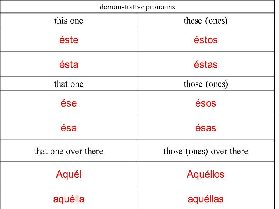 demonstrative pronouns this onethese (ones) ésteéstos éstaéstas that onethose (ones) éseésos ésaésas that one over therethose (ones) over there AquélAquéllos aquéllaaquéllas