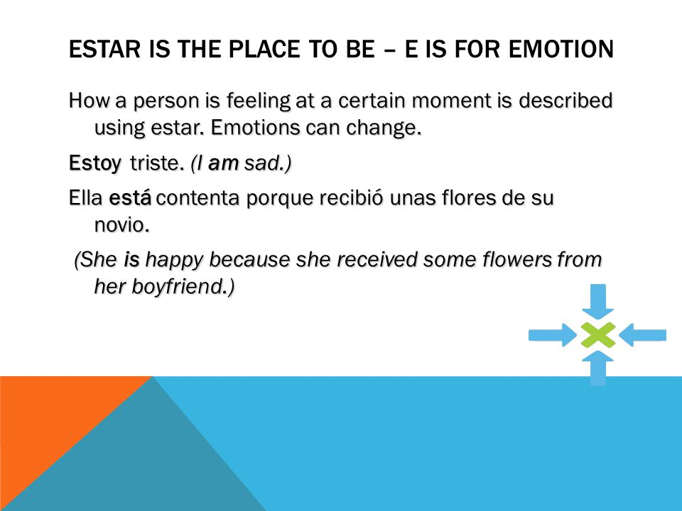 ESTAR IS THE PLACE TO BE- C IS FOR CONDITION Physical and mental conditions are described using estar.