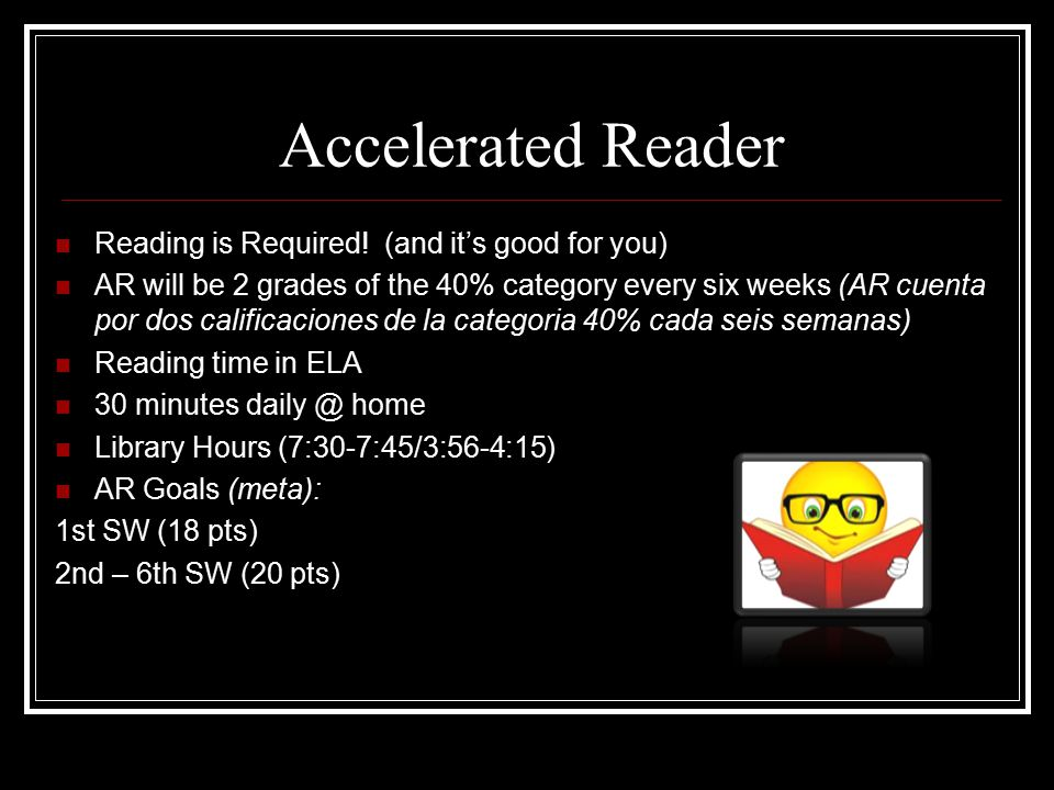 Accelerated Reader Reading is Required.