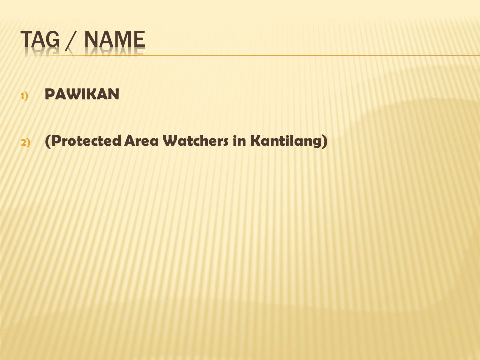 1) PAWIKAN 2) (Protected Area Watchers in Kantilang)