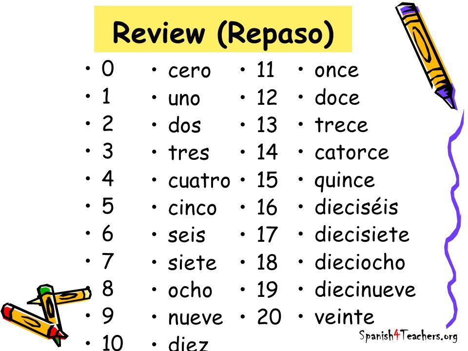 Review (Repaso) 0 1 2 3 4 5 6 7 8 9 10 cero uno dos tres cuatro cinco seis siete ocho nueve diez Spanish4Teachers.org 11 12 13 14 15 16 17 18 19 20 once doce trece catorce quince dieciséis diecisiete dieciocho diecinueve veinte