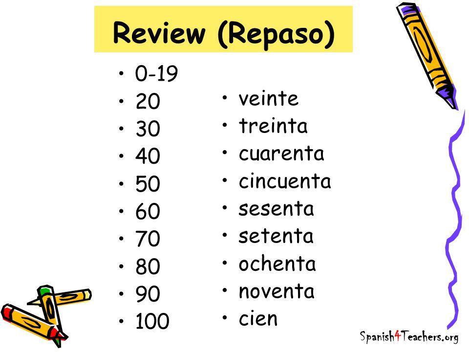 Review (Repaso) TrickEjemplo 21-29veinti + númeroveintidos 31-39treinta y + númerotreinta y tres 41-49cuarenta y + númerocuarenta y seis 91-99noventa y + númeronoventa y nueve Notice: the numbers that only form one word are… Spanish4Teachers.org