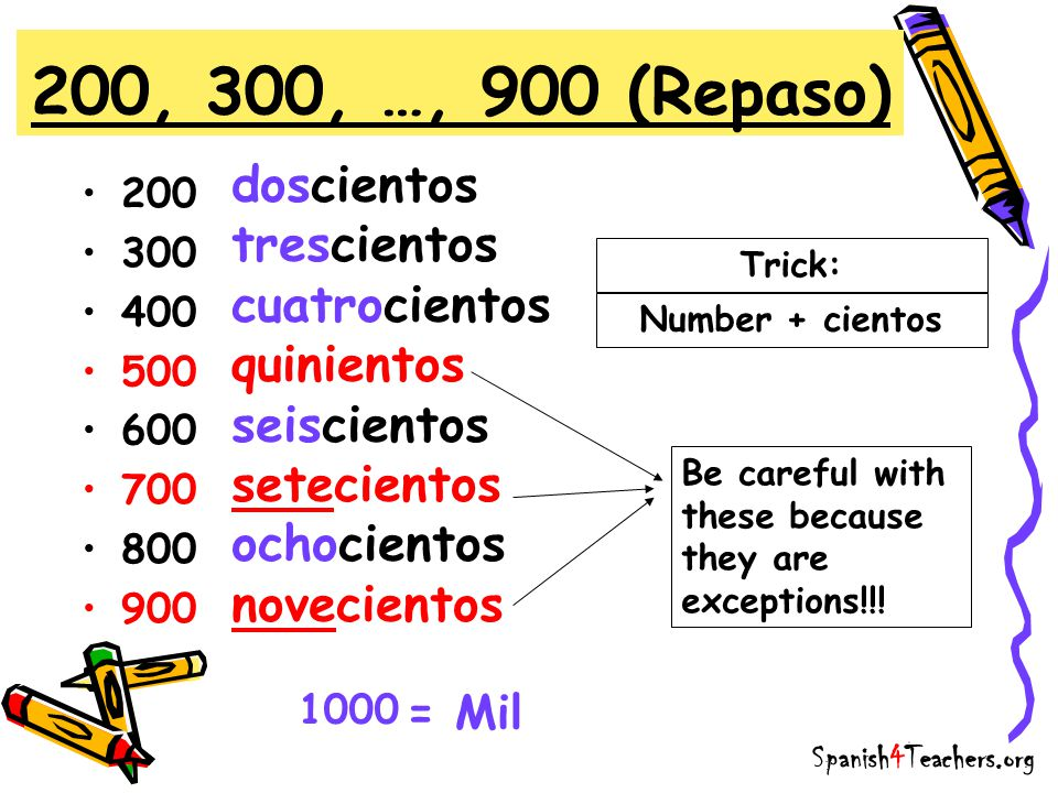 Review (Repaso) TrickEjemplo 101-199ciento + númerocientodos 201-299doscientos + númerodoscientos tres 301-399trescientos + númerotrescientos seis 901-999novecientos + número novecientos nueve Remember: ciento is the exception Spanish4Teachers.org