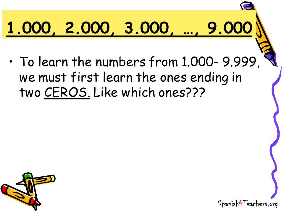 1.000 2.000 3.000 4.000 5.000 6.000 7.000 8.000 9.000 1.000.000 1.000, 2.000, 3.000,…, 9.000 Trick: Number + mil mil dos mil tres mil cuatro mil cinco mil seis mil siete mil ocho mil nueve mil un millón Spanish4Teachers.org