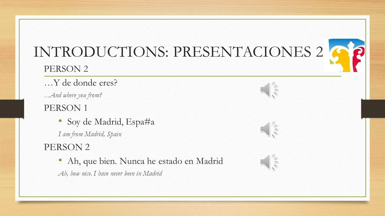 INTRODUCTIONS: PRESENTACIONES PERSON 1 Hola como estas.