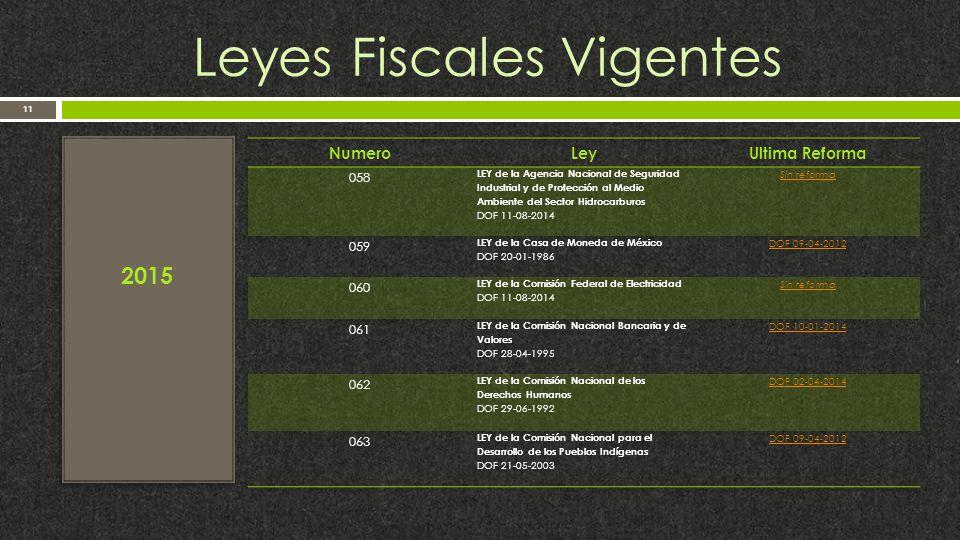 Leyes Fiscales Vigentes 11 2015