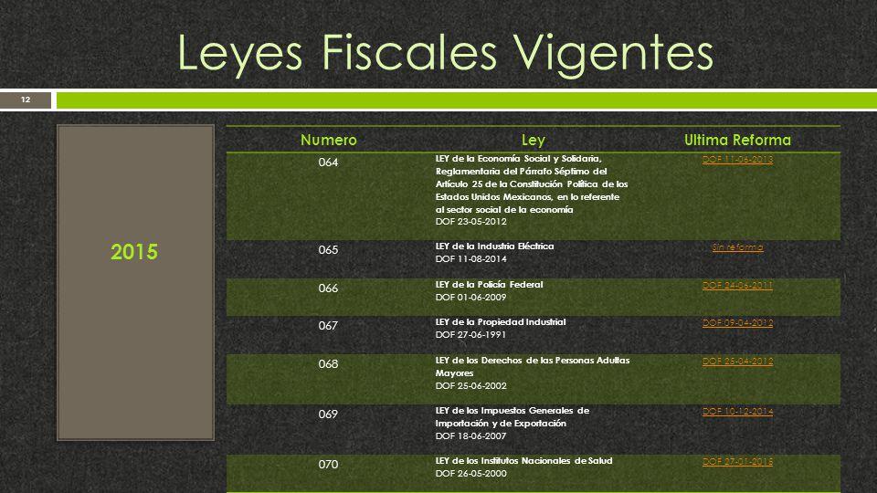 Leyes Fiscales Vigentes 12 2015