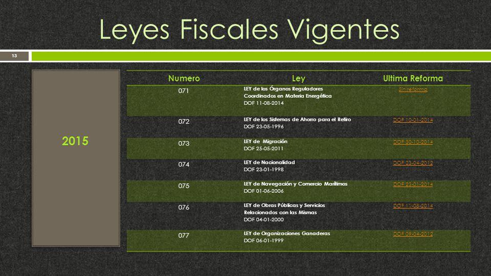 Leyes Fiscales Vigentes 13 2015