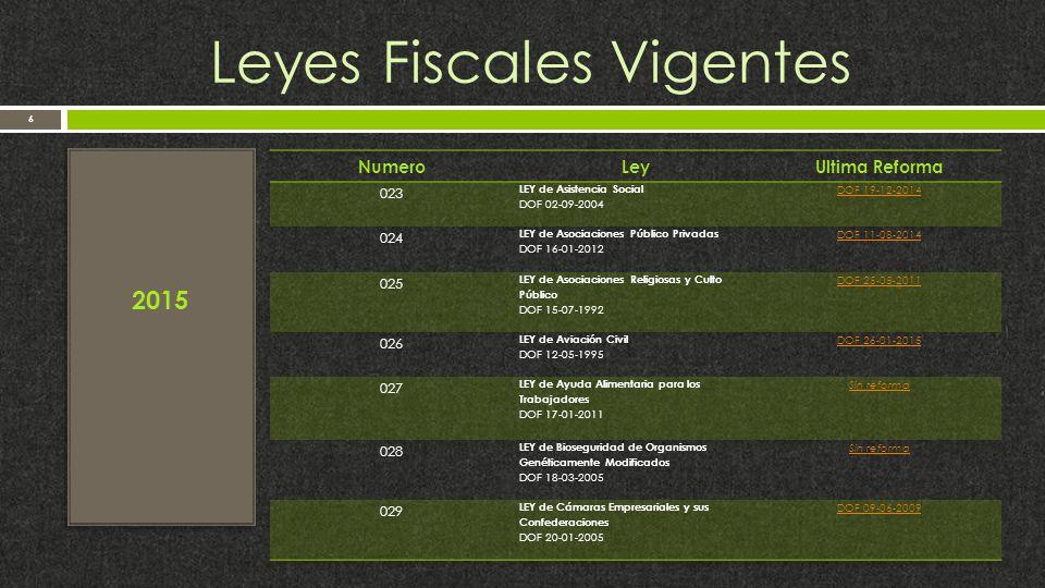 Leyes Fiscales Vigentes 6 2015