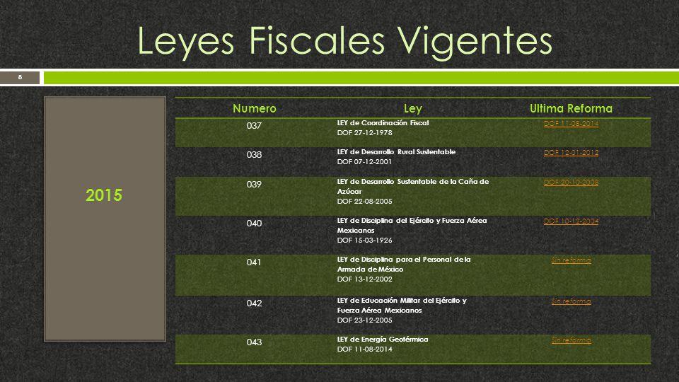 Leyes Fiscales Vigentes 8 2015