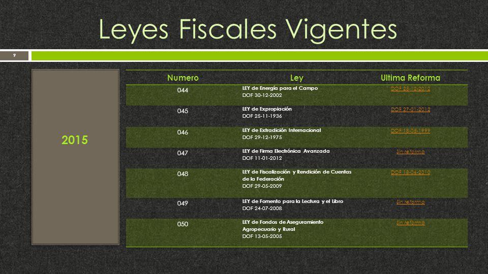 Leyes Fiscales Vigentes 9 2015