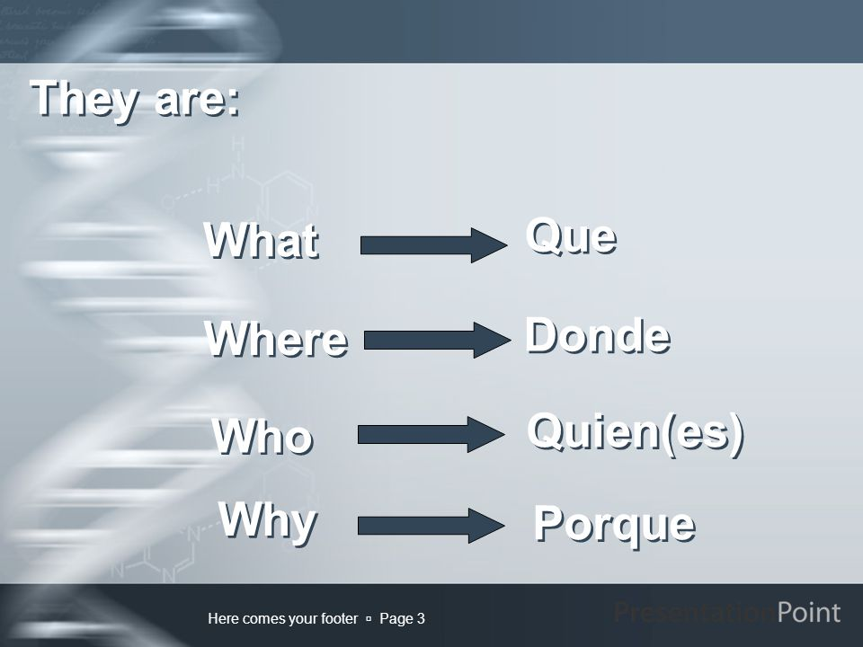 Here comes your footer  Page 3 Porque Que What Where Why They are: Who Donde Quien(es)