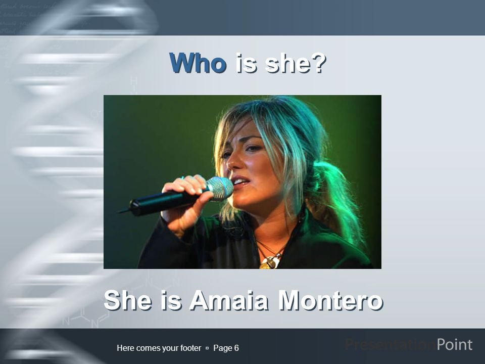 Here comes your footer  Page 6 Who is she? She is Amaia Montero