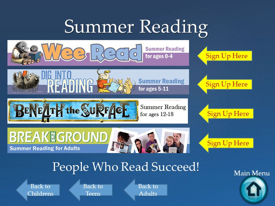 Summer Reading Main Menu Back to Childrens Back to Teens Back to Adults Sign Up Here People Who Read Succeed!