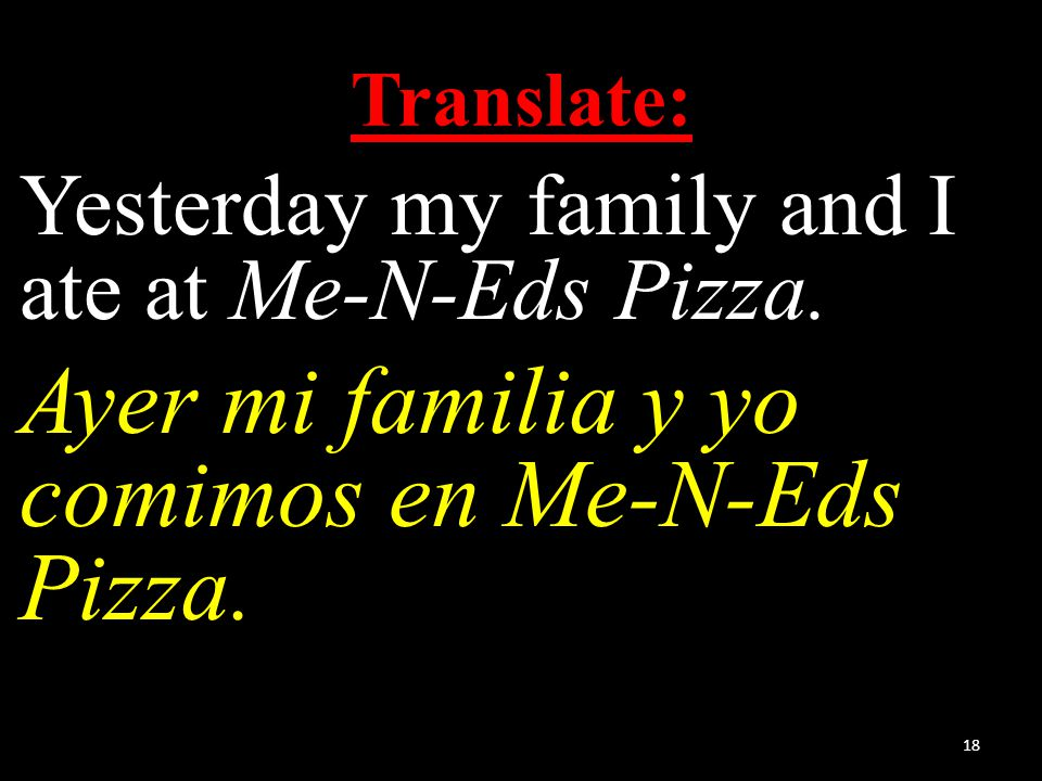 Translate: Yesterday my family and I ate at Me-N-Eds Pizza.