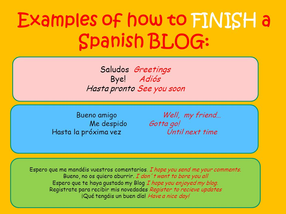 Examples of how to FINISH a Spanish BLOG: Saludos Greetings Bye.