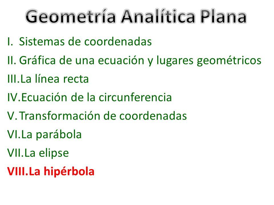 I.Sistemas de coordenadas II.Gráfica de una ecuación y lugares geométricos III.La línea recta IV.Ecuación de la circunferencia V.Transformación de coordenadas VI.La parábola VII.La elipse VIII.La hipérbola