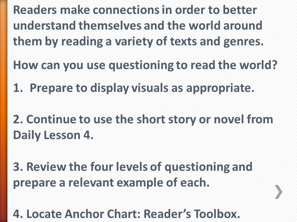 Readers make connections in order to better understand themselves and the world around them by reading a variety of texts and genres. How can you use