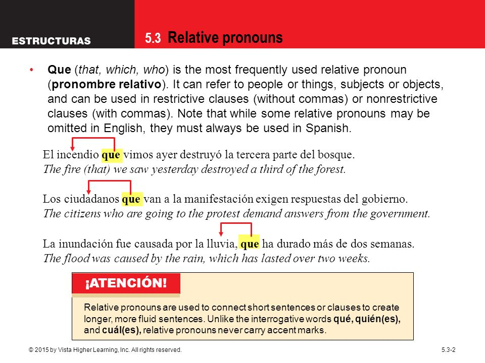 5.3 Relative pronouns © 2015 by Vista Higher Learning, Inc.