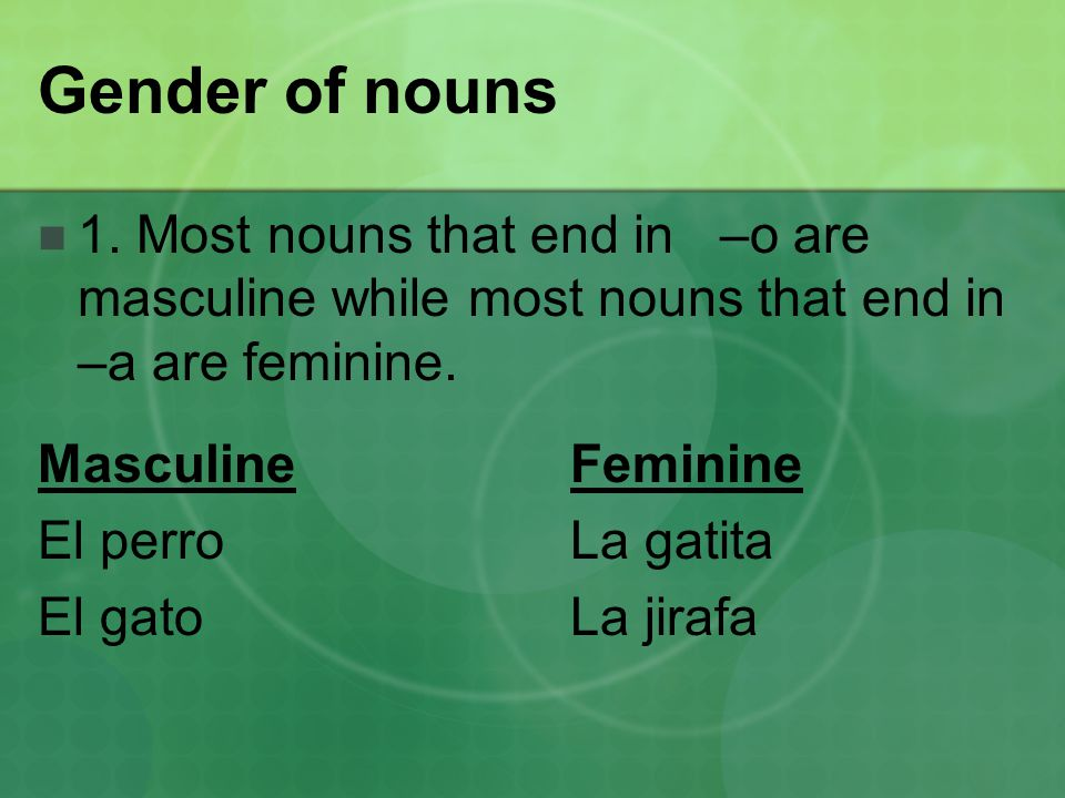 Gender of nouns 1.