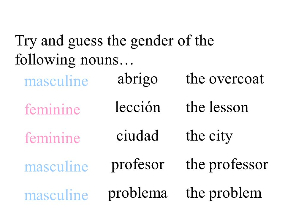 Some endings help determine the gender of nouns.