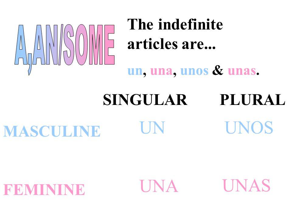 The definite articles are... el, la, los & las. SINGULAR PLURAL MASCULINE FEMININE EL LA LOS LAS